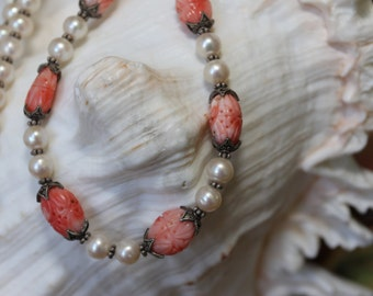 Carved Natural Pink Coral with White Pearls Necklace