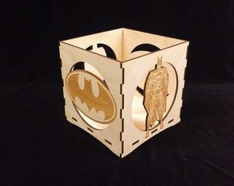 Batman Candle Holder-Unfinished Wooden Candle Lantern-engravable candle box-Superhero gift-Batman wooden candle lantern