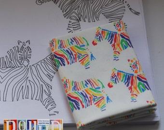 Unique 100% cotton fabric modern 'rainbow zebras' motif digitally printed pattern fat quarter original hand drawn design sold by designer