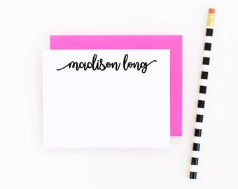 Personalized Calligraphy Stationery Set Personalized Note Cards Script Stationary for Girls Custom Thank You Note Cards Bridesmaids Gift