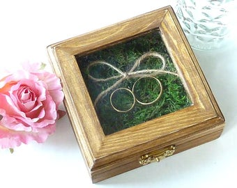 Wedding Ring Box Rustic Ring Bearer Box Wooden Ring Pillow Alternative With Moss Shabby Chic Woodland Wedding Decoration Custom Ring Pillow