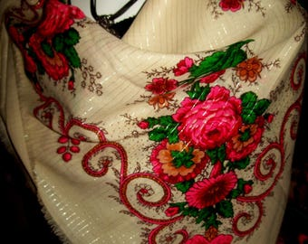 A vintage large Russian shawl