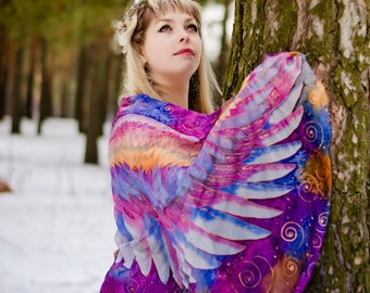 "Wings silk scarf wrap sarong. Silk scarf hand painted ""fairy wings"". Batik silk scarf hand painted. Scarf boho, Bohemian chic.Made to Order."