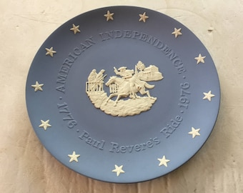 Wedgwood Jasperware Paul Revere's Ride, US Independence 4th July Collectible, USA Bicentenary Liberty Blue Plate, USA Historical Plate