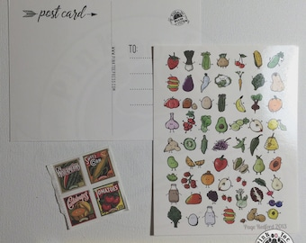 Vegetable Postcards: Pack of Five