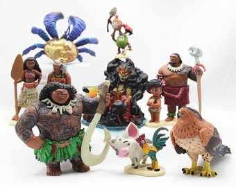 CAKE TOPPER - 10 pcs Moana Maui Hei Hei Pua 10 Figure Set Custom Wedding Birthday Party Decor DIY Cupcakes Figurines