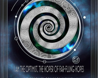 Doctor Who Inspired Gallifreyan A2 Poster - Dreamer of Improbable Dreams -
