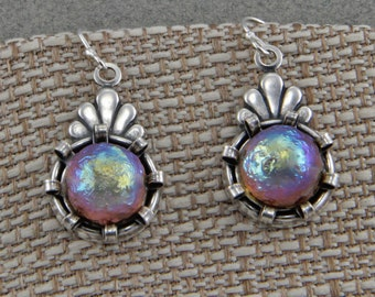 Silver Handmade Czech Glass Earrings Vintage Looking Drops With Iridescent Glass Beads Silver Hooks Dangle Earrings
