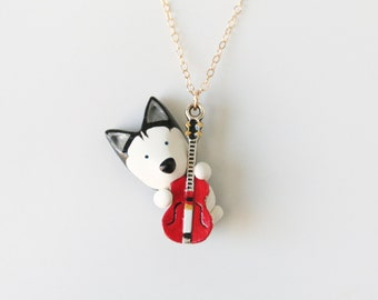 Mika the Siberian Husky with a guitar necklace -14k Gold filled-