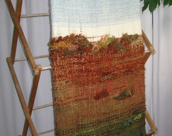 Woven Merino Wool Blanket, Hand-dyed with Autumn Landscape