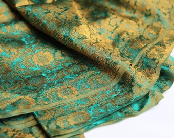 Silk Brocade - turquoise Brocade silk floral brocade fabric, Brocade, silk brocade