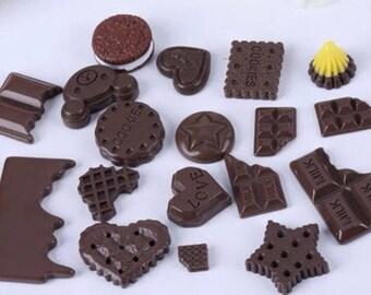 5 cabochon Chocolate Kawaii Food Color