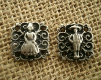 Set of two connectors square silver-plated couple in folk costume, size 18 mm