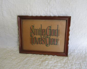 Mid Century Picture Smile God Loves You