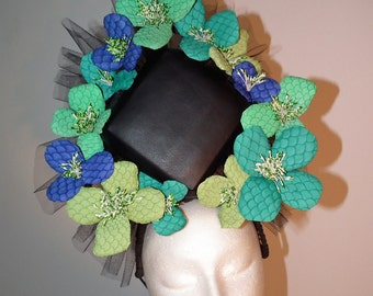 TRANQUIL RAVEN millinery  headpiece fascinator blue green black leather flowers crown melbourne cup royal ascot dubai raceday millinery