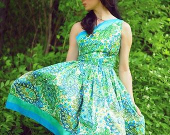 1950s one shoulder polished cotton paisley dress