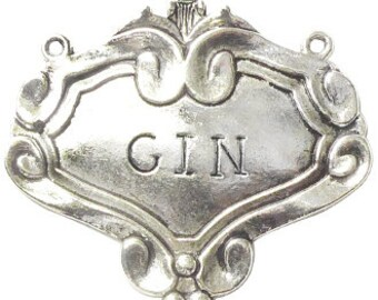 1 Silver Gin Decanter Label 49x55mm by TIJC SP0661
