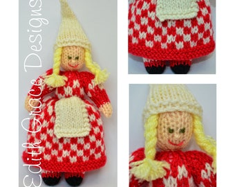 Doll Knitting Pattern - Christmas Elf - Toy Knitting Pattern - Knit Doll - Sweden Doll - Doll Making - Christmas Ornament - Amigurumi Toy
