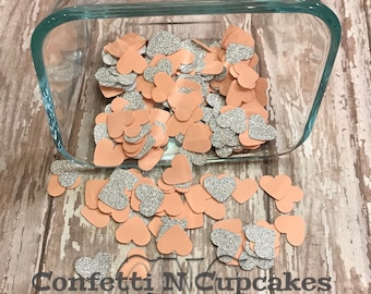 Peach and Silver Glitter Heart Confetti, Bridal Shower, glitter confetti, party decor, confetti throw, die cut hearts, wedding confetti