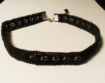 Black Quality Soft Cotton Lace Choker - Gothic Choker Necklace