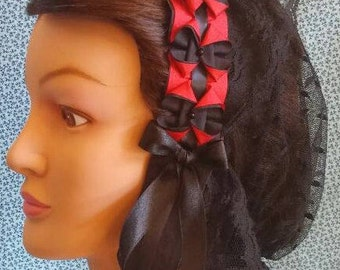 Black/Red Ribboned Lacy Daycap