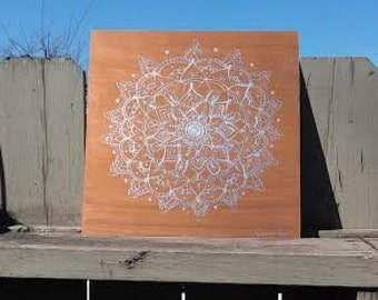 Hand Painted Silver Mandala on Sheet Metal with Copper Background