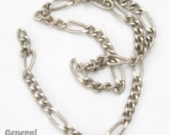 6.2mm x 2.5mm Antique Silver Figaro Chain #CCF222