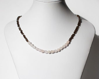 Smoky quartz and rose quartz beaded gemstone necklace