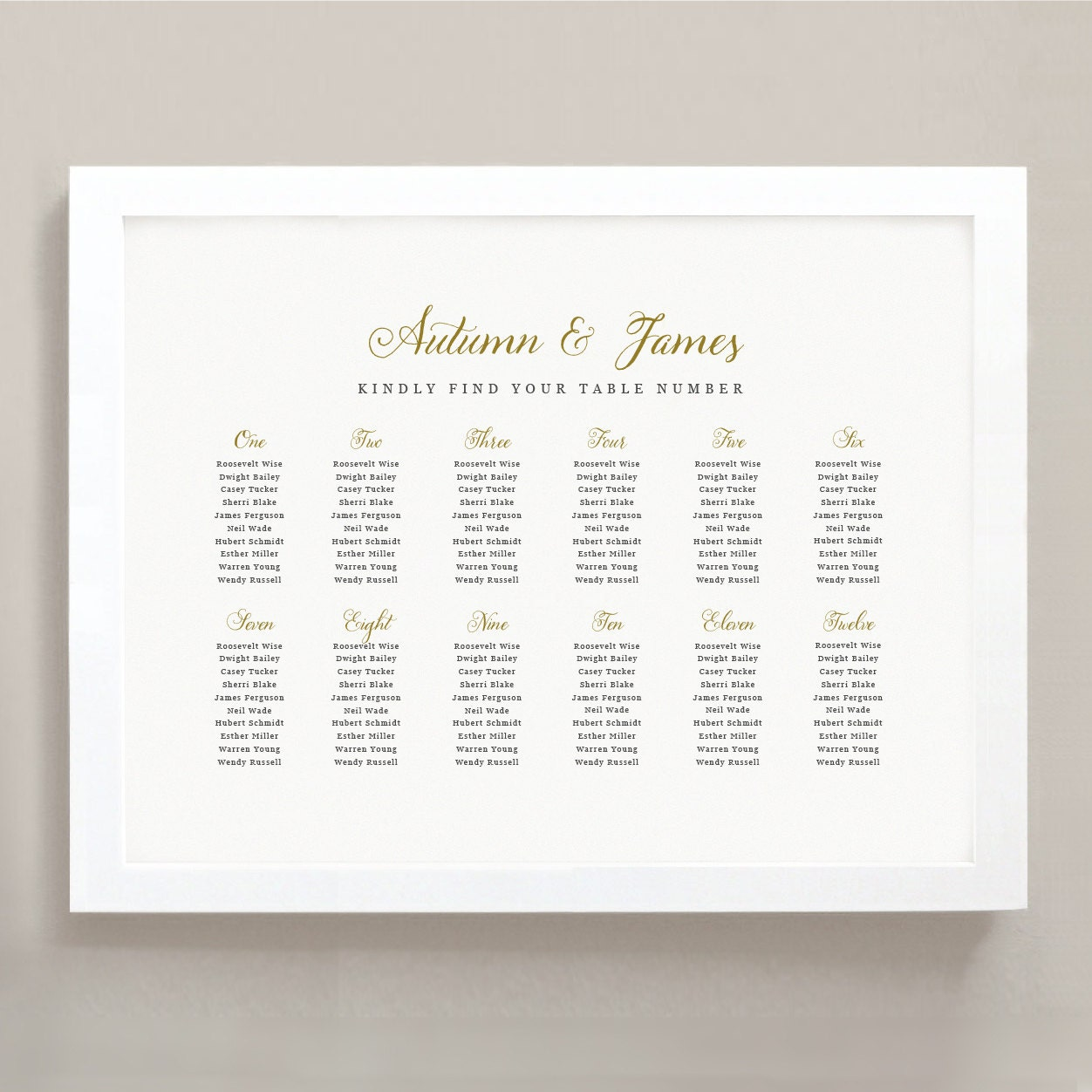 Printable Seating Chart Poster Template Romantic Script Word Or