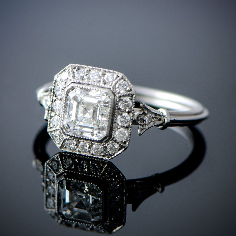 cut diamond midcentury platinum carat asscher ring engagement