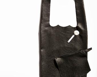 Sac à main, sac shopping, sac minimaliste, sac porté épaule, sac cuir noir autruche, tannage végétal, fabriqué en France