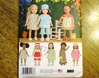 "BOHO Summer Dress, Muu Muu, Yoked Pop Top, Maxi Dress & More: DIY Doll Clothing for 18"" Dolls - UNCUT ff Sewing Pattern Simplicity 1136"