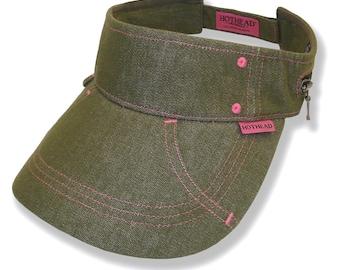 Hothead Womens Mens Wide Brim Custom Sun Visor Hat in Olive Denim