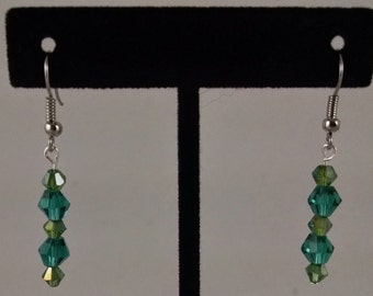 Green Crystal Dangles by Lily  Sku 12