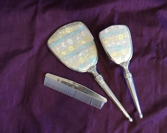 Vintage Silver Dresser Set Mirror Brush Comb Blue & Yellow Flowers Vanity - Dresser Items - Set At Everything Vintage USA Shipping's On Us!