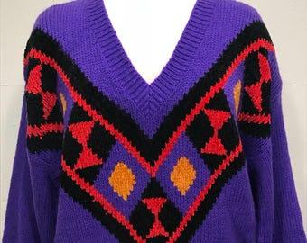 80s V neck purple  jewel tone sweater bold print geometric design woven sweater large