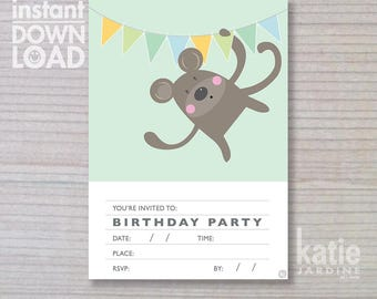 instant invitation -  boys invitation - monkey invitation - childrens invitation  - downloadable invite - monkey - green invite