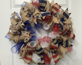 Independence Day,4th of July,Veterans Day,Red White and Blue,Mesh Wreath,Front Door Wreath,Home Decor,Memorial Day,Americana