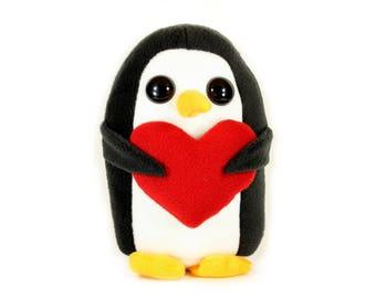 Penguin Plush Toy, Love Penguin, Penguin Stuffed Animal, Penguin Plushie, Valentines Day Penguin