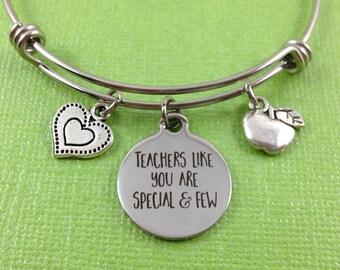 Teacher Charm Bracelet, Teacher Bangle, Teacher Gift, Teacher Appreciation Gift, Apple Charm, Heart Charm, Stainless Steel Bangle