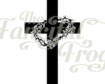 Cross with Crown of Thorns - Vinyl Decal - Jesus Christian Crucifix