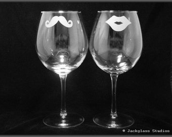 His and Hers Wine Glasses Etched for Bride and Grooom, Couples, Fun, Quirky, Bridesmaids, Bachelorette by Jackglass on Etsy