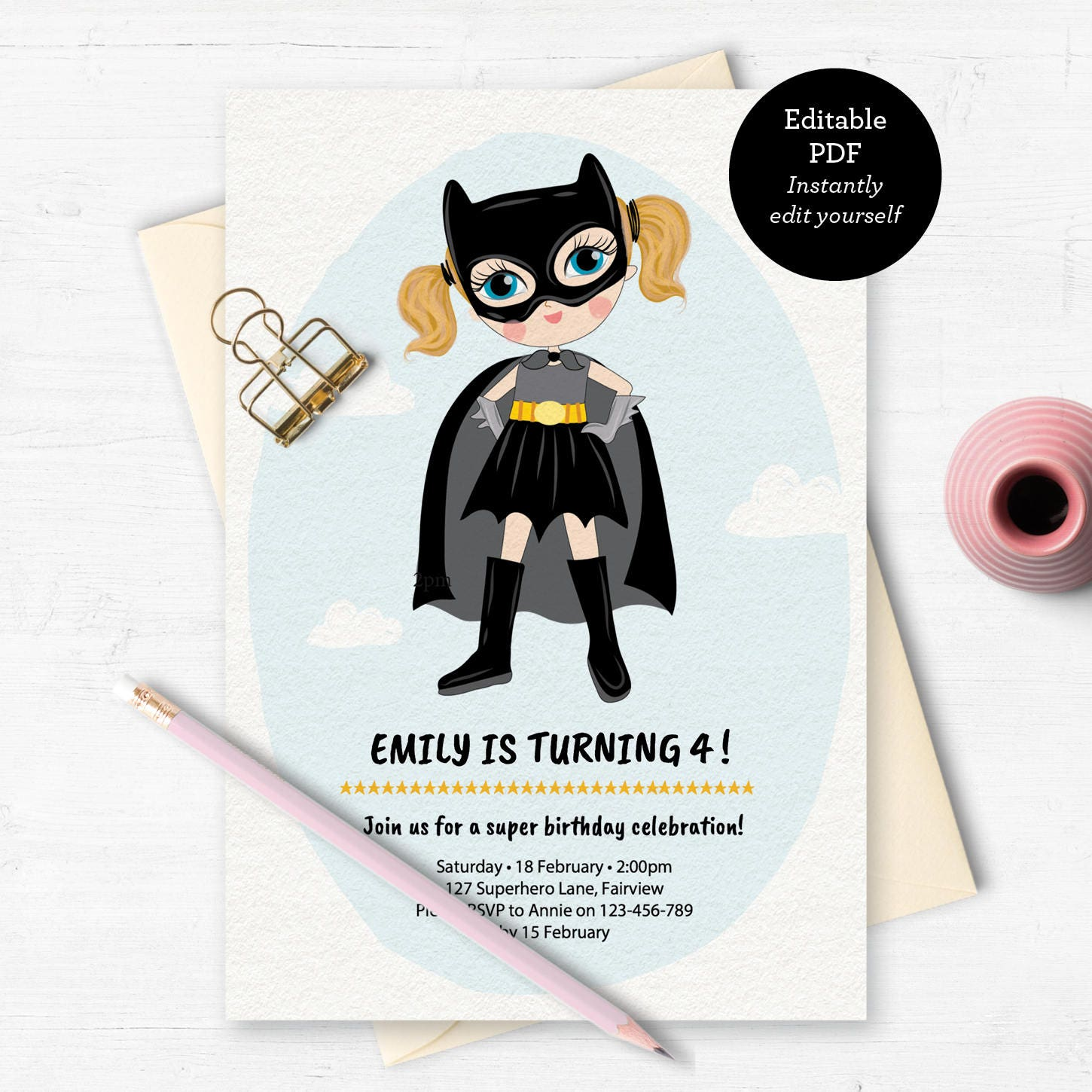 Batgirl Invitation birthday invitation kids invitation