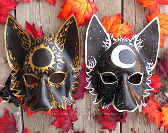 Wolf Mask, Couples masks, LARP Garb, Leather Mask, Mardi Gras, Sun and Moon, Couples Costume, Animal Mask, Mystical Cosplay, Fantasy