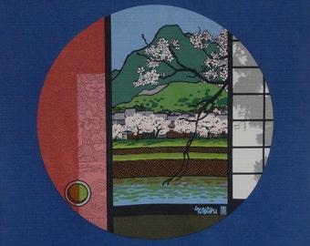 Clifton Karhu 'Kamogawa River Kyoto' Furoshiki Japanese Fabric w/Free Insured Shipping