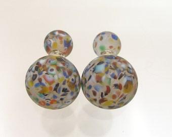 Murano glass double beads earrings, double sided earrings, glass jewelry,surgical steel