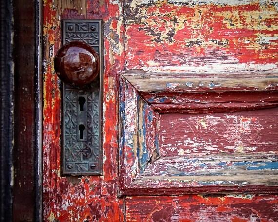 Red Door Doorknob Urban Decay Weathered Rustic Door
