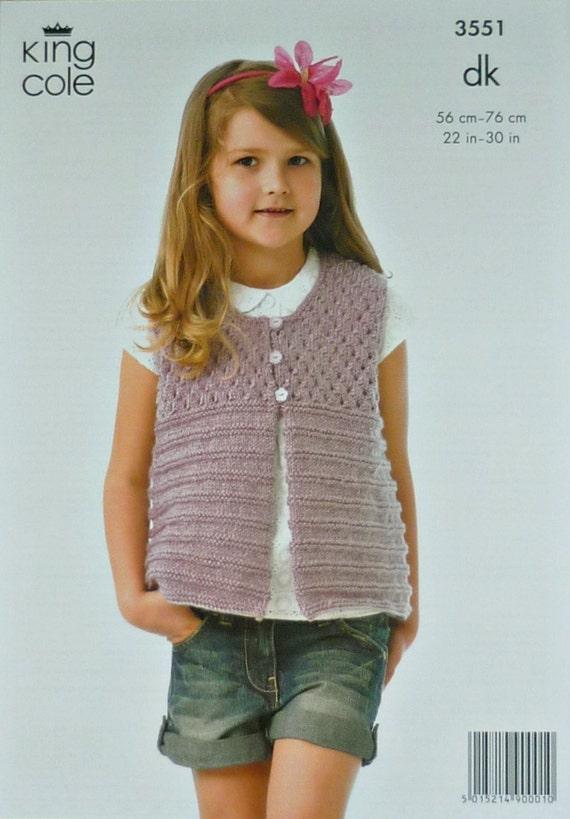 Mädchen Stricken Muster K3551 Childrens ärmellose Öse Joch