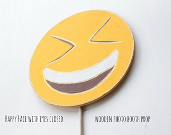 Happy face with eyes closed emoji prop, Emoji Party Supplies, Emoji Party Decorations, Emoji Photo Booth Props, Photo Booth Sign