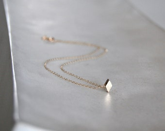 Diamond Necklace in a Tiny Gold Geometric Shape- Solid 10k Gold - Shine on You Crazy Diamond
